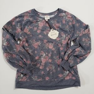 Knox Rose Boho Chic Balloon Sleeve Sweatshirt NWT